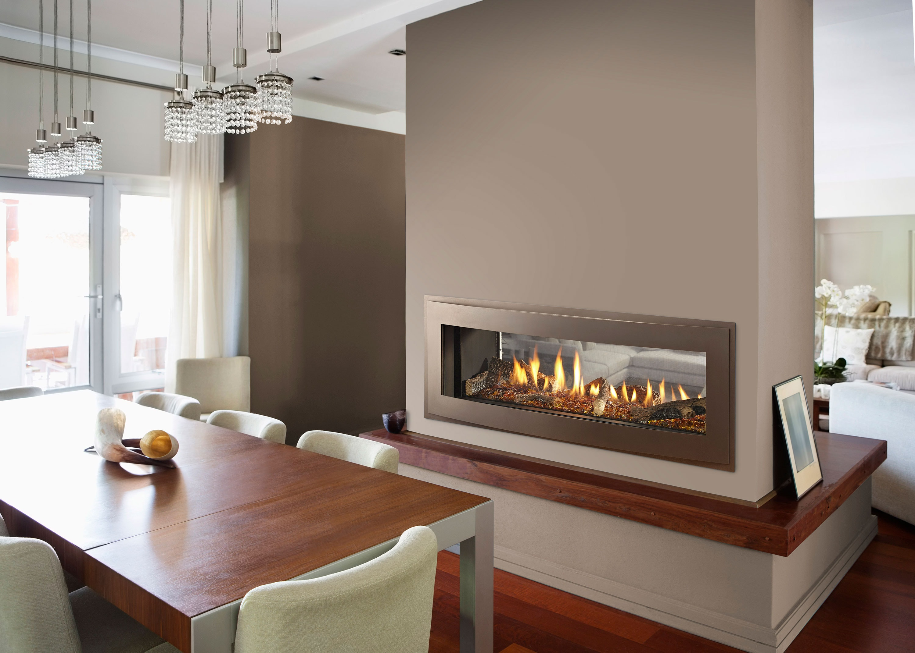 Unveiling new crave linear gas fireplace series heatilator for Through fireplace