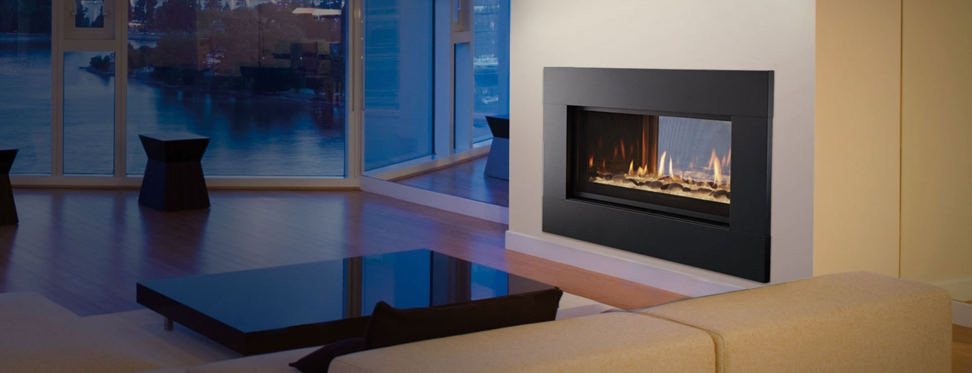 mezzanine see through gas fireplace heatilator