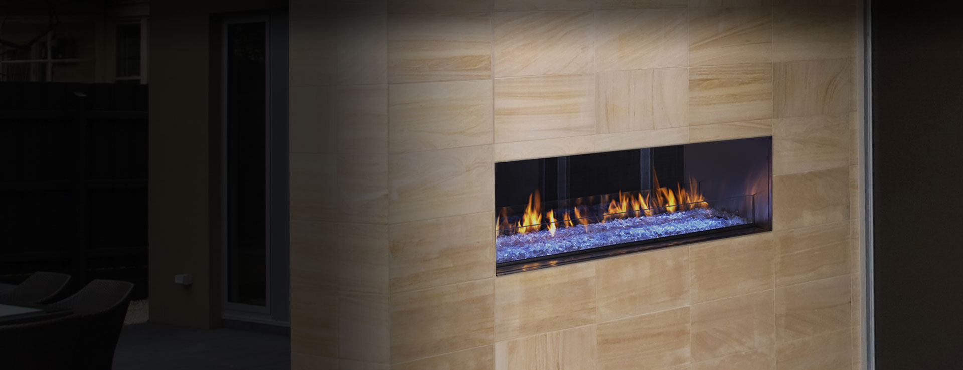 palazzo see through gas fireplace heatilator