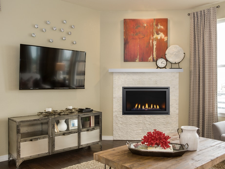 Tv Above The Rave Modern Gas Fireplace, Outdoor Fireplace Kit With Tv Mount
