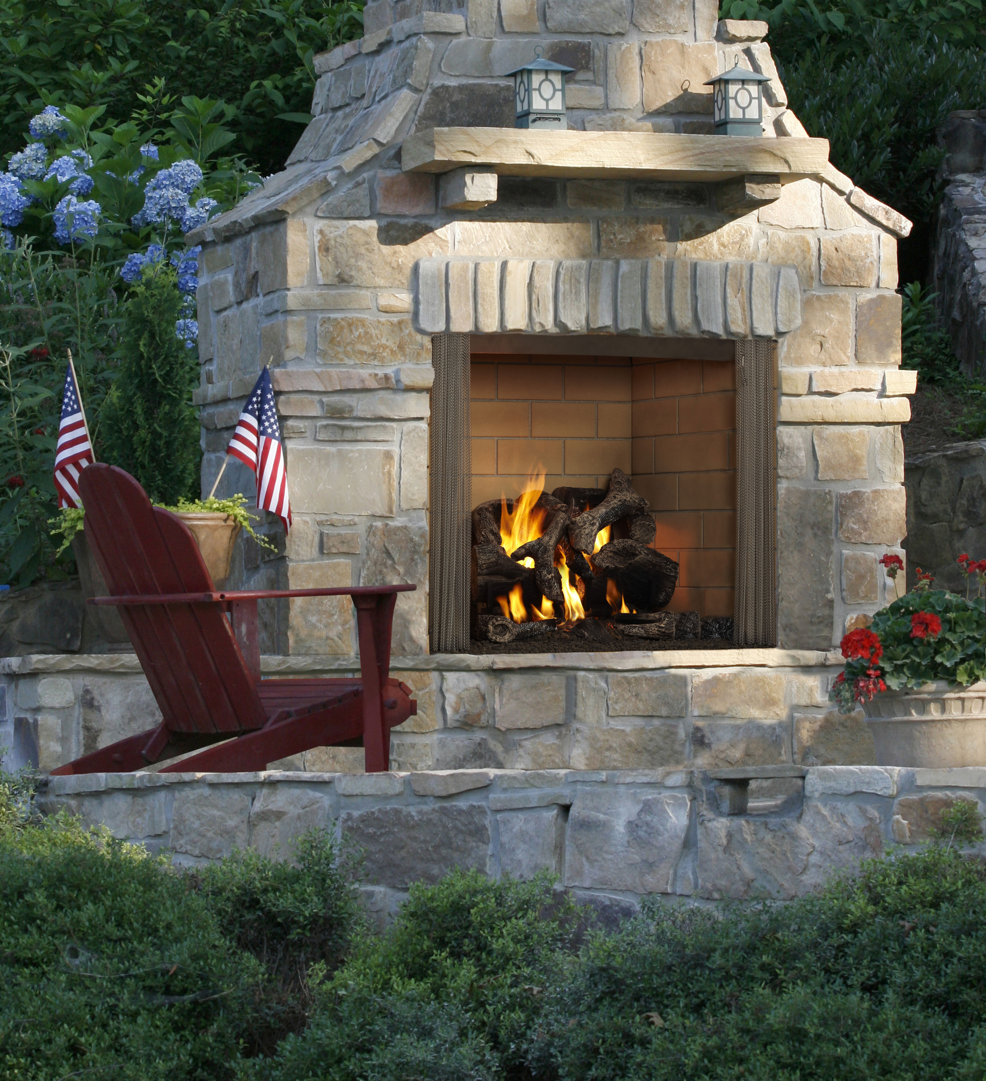 Castlewood outdoor fireplace