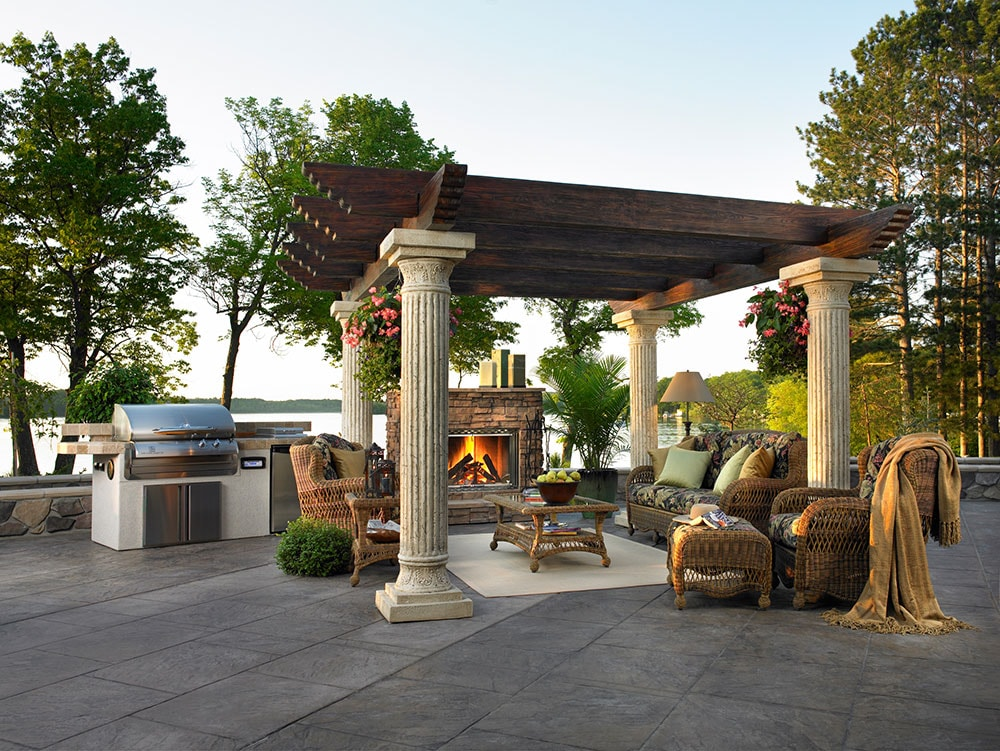 An outdoor fireplace does a lot more heatilator for Outdoor great room ideas